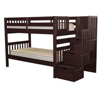 Bedz King Stairway Bunk Bed Twin over Twin with 3 Drawers in Cappuccino