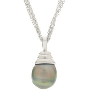 Pearls For You Sterling Silver Tahitian Pearl Beehive Pendant (11-12 mm)