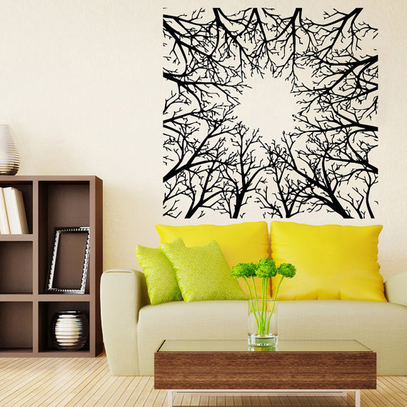 Abstract Trees Forest Nature Wall Decor Floral Interior Home Vinyl ...