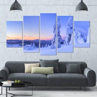 Designart 'Sunset over Frozen Trees' Large Landscape Canvas Art - 60x32 5 Panels