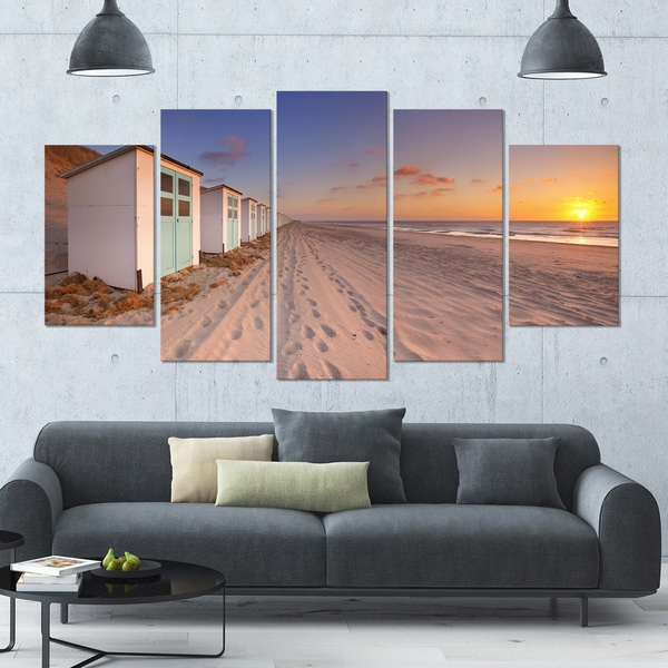 Designart 'Row of Beach Huts at Sunset' Large Landscape Canvas Art - 60x32 5 Panels
