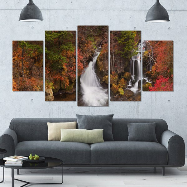 Designart 'Ryuzu Falls near Nikko Japan' Landscape Wall Art on Canvas - 60x32 5 Panels