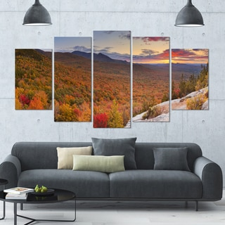 Designart 'Endless Forests in Fall Panorama' Landscape Wall Art on Canvas - 60x32 5 Panels