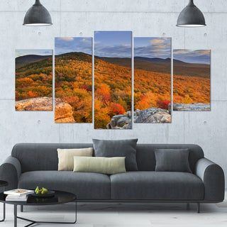 Designart 'Endless Forests in the Fall Foliage' Landscape Wall Art on Canvas - 60x32 5 Panels