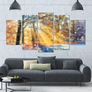 Designart 'Blur Winter with Snow Flakes' Landscape Wall Art on Canvas - 60x32 5 Panels