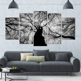 Designart 'Hoto of Winter Branches' Landscape Wall Art on Canvas - 60x32 5 Panels - Multi-color