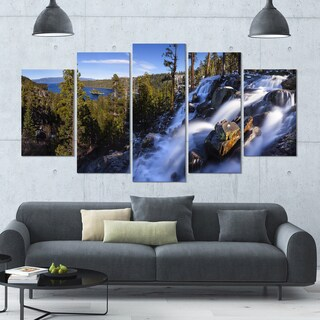 Designart 'Eagle Falls Emerald Bay Lake Tahoe' Modern Landscpae Wall Art - 60x32 5 Panels