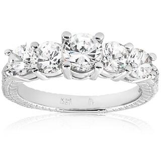 14k White Gold 2 1/2 ct TDW Diamond Clarity Enhanced Vintage Five Stone Engagement Ring