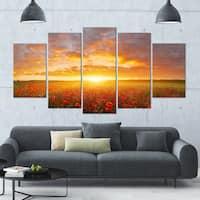 Designart 'Poppy Field under Bright Sunset' Modern Landscpae Wall Art - 60x32 5 Panels - Multi-color
