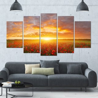 Designart 'Poppy Field under Bright Sunset' Modern Landscpae Wall Art - 60x32 5 Panels