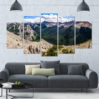 Designart 'Rocky Mountains Panorama' Modern Landscpae Wall Art - 60x32 5 Panels