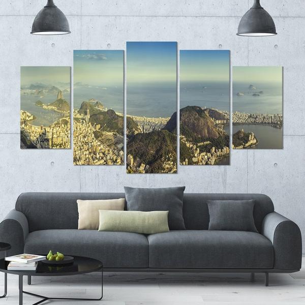 Shop Designart \'Rio De Janeiro with Copacabana\' Landscape Canvas ...