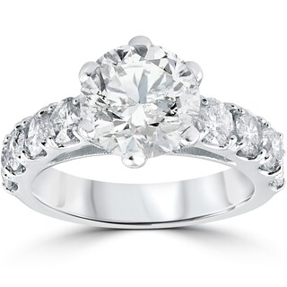 14k White Gold 4 1/2 ct TDW Diamond Clarity Enhanced Engagement Ring (I-J,I2-I3)