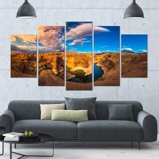 Designart 'Reflection Canyon Lake Powell' Landscape Canvas Wall Artwork - 60x32 5 Panels - Multi-color