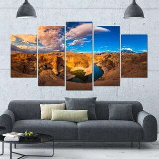 Designart 'Reflection Canyon Lake Powell' Landscape Canvas Wall Artwork - 60x32 5 Panels - Multi-color