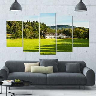 Designart 'Alone Farmhouse in Meadow' Landscape Canvas Wall Artwork - 60x32 5 Panels