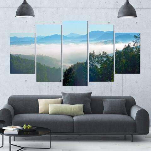 Designart 'Morning in Blue Ridge Parkway' Landscape Canvas Wall Artwork - 60x32 5 Panels