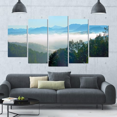 Designart 'Morning in Blue Ridge Parkway' Landscape Canvas Wall Artwork - 60x32 5 Panels
