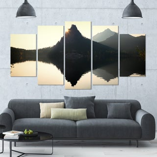 Designart 'National Park Burabay at Sunset' Landscape Canvas Wall Artwork - 60x32 5 Panels
