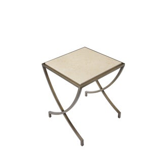 Steve Brass Steel and Marble Side Table