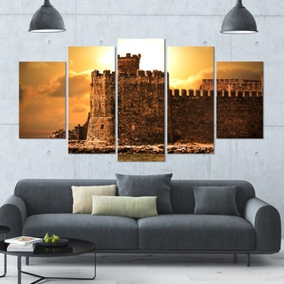 Designart 'Old Castle at Sunset' Landscape Canvas Wall Artwork - 60x32 5 Panels