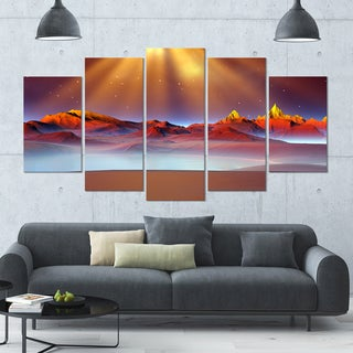 Designart 'Alien Landscape at Sunset' Landscape Canvas Wall Artwork - 60x32 5 Panels
