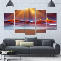 Designart 'Alien Landscape at Sunset' Landscape Canvas Wall Artwork - 60x32 5 Panels