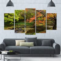 Designart 'Fall Trees in Bright Colors' Landscape Canvas Wall Artwork - 60x32 5 Panels