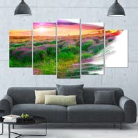 Designart 'Brushes Painting the Nature' Landscape Wall Artwork - 60x32 5 Panels - Multi-color