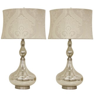 Decor Therapy Silver Mercury Glass, Steel, and Linen Genie Bottle Table Lamp (Set of 2)
