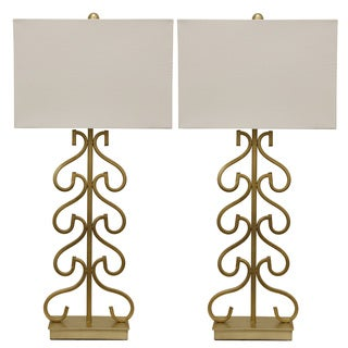 Decor Therapy Repeating Open Metal Work Table Lamp (Set of 2)
