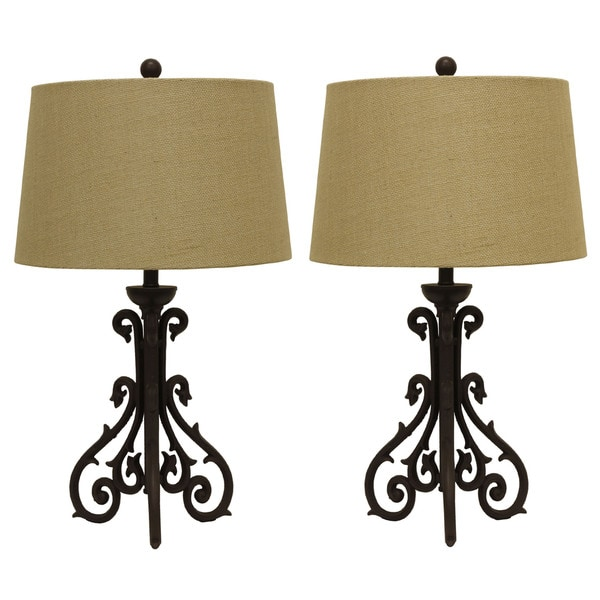 Shop Cast Iron Scroll Table Lamp With Burlap Shade Set Of 2 Free