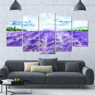 Designart 'Lavender Fields Watercolor' Landscape Wall Artwork - 60x32 5 Panels