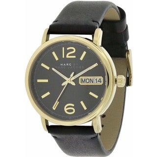 Marc by Marc Jacobs Fergus Black Leather and Goldtone Stainless Steel Women's Watch