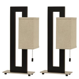 Decor Therapy Black and Silvertone Steel Square Table Lamp with Linen Shade (Set of 2)