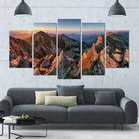 Designart 'Majestic Sunset in Fall Mountains' Landscape Wall Artwork - 60x32 5 Panels - Multi-color