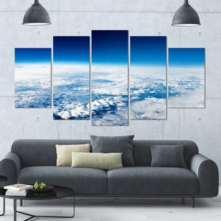 Designart 'Stunning View from Airplane' Landscape Wall Artwork - 60x32 5 Panels