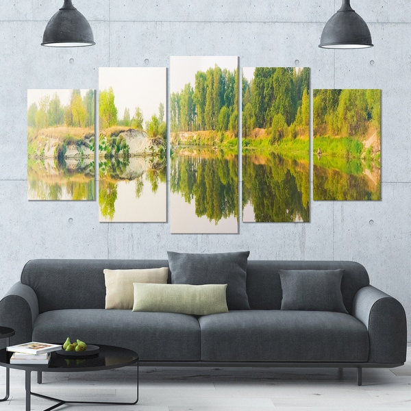Designart 'River and Forest Panorama' Landscape Wall Artwork - 60x32 5 Panels