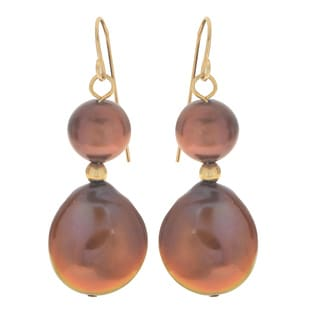 Pearls For You 14k Yellow Gold Dyed Chocolate Freshwater Coin Pearl Dangle Earrings (8-8.5, 12-13 mm)