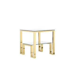 Laurence Stainless Steel/Glass Square Modern Side Table