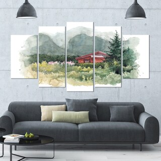 Designart 'Watercolor House Aad Mountains' Landscape Wall Artwork - 60x32 5 Panels - Multi-color