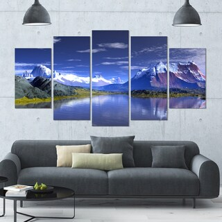 Designart '3D Rendered Mountains and Lake' Landscape Wall Artwork - 60x32 5 Panels - Multi-color