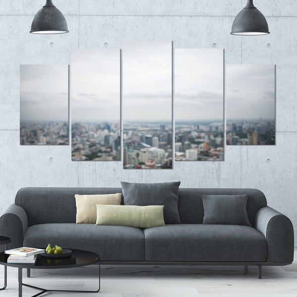 Designart 'Panoramic Aerial View of Big City' Landscape Wall Artwork - 60x32 5 Panels - Multi-color