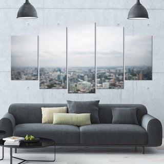 Designart 'Panoramic Aerial View of Big City' Landscape Wall Artwork - 60x32 5 Panels