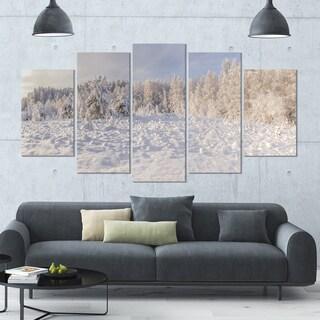 Designart 'Wood Winter Glade' Landscape Wall Artwork - 60x32 5 Panels