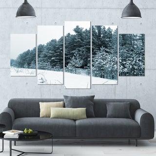 Designart 'Dark Winter Trees' Landscape Wall Artwork - 60x32 5 Panels