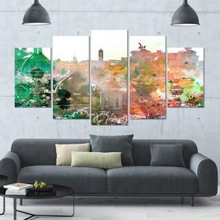Designart 'Colorful City Watercolor' Landscape Wall Artwork - 60x32 5 Panels