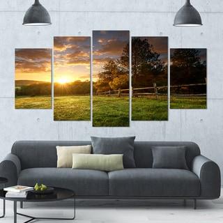 Designart 'Fenced Ranch at Sunrise' Large LandscapeArt - 60x32 5 Panels