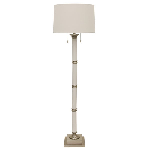 Decor Therapy White and Metal Column Twin Pull Floor Lamp