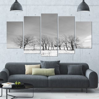 Designart 'Black and White Trees in Winter' Large LandscapeArt - 60x32 5 Panels